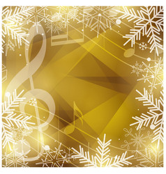 gold background with music notes and snowflakes vector image