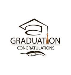 graduation cap emblem vector image