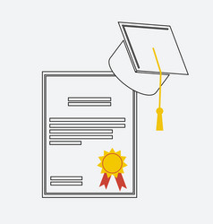 graduation hat and diploma scroll linear icon vector image