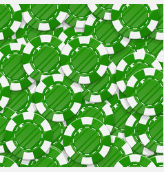 green casino chips seamless pattern vector image vector image