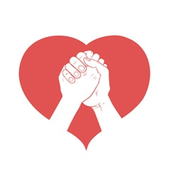 Hands together in heart vector