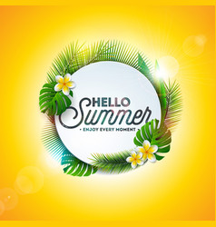 hello summer holiday typography vector image