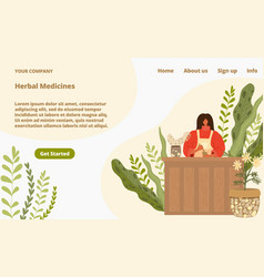 Herbal medicine from natural plants landing page vector