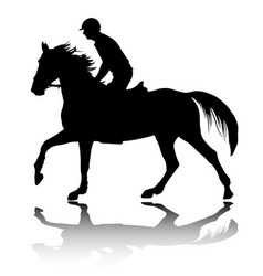High quality silhouette young man riding horse vector