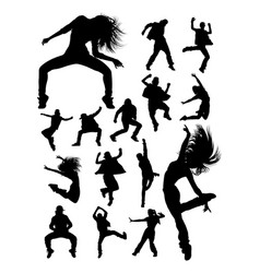 Hip hop modern dance dancer silhouettes vector