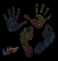 Imprint of children s palms and feet mehendi set vector