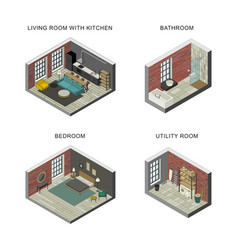 interiors set in isometric views vector image