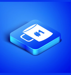 isometric coffee cup flat icon isolated on blue vector image