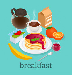 Isometric concept of pancakes topped with berry vector