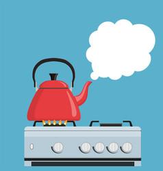 Kitchen kettle on gas stove vector