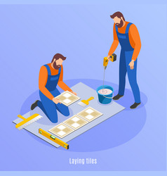Laying tiles isometric background vector