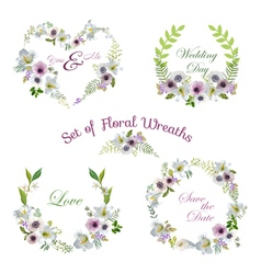 Lily and anemone flowers floral wreaths vector