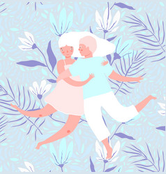 man and woman in love design with flowers vector image