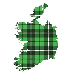 map of ireland texture of tartan green plaid vector image