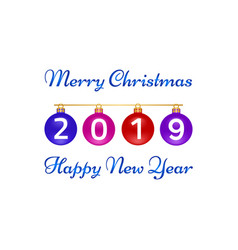 merry christmas happy new year greeting card on vector image