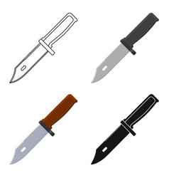 military combat knife icon in cartoon style vector image