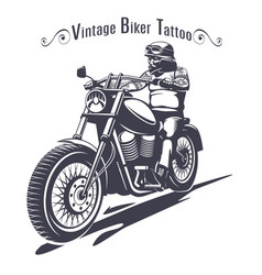 monochrome biker tattoo template vector image