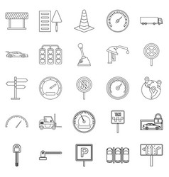 Mover icons set outline style vector