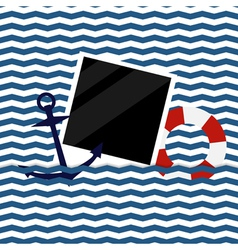 Nautical background with photoframe vector