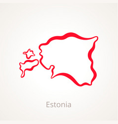 Outline map of estonia marked with red line vector