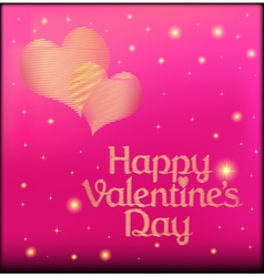 Pink postcard on Valentines day with the heart of vector