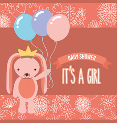 pink rabbit with balloons baby shower its a girl vector image
