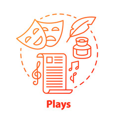 Plays red concept icon drama theatre screenplay vector