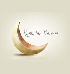 Ramadan kareem with golden ornate crescent vector