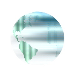 Raster globe linear vector image