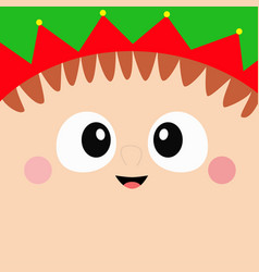 santa claus elf square head face icon merry vector image