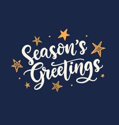 Seasons greetings lettering vector