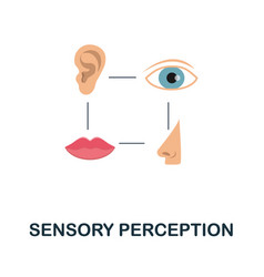 Sensory perception flat icon colored sign from vector