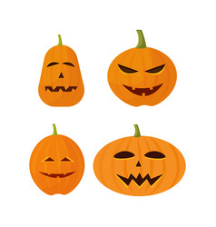 set different pumpkins collection happy halloween vector image