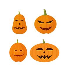 set different pumpkins collection happy halloween vector image