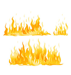 Set fire on ground isolated vector
