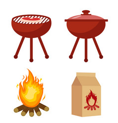 set for barbecue and grill with charcoal bonfire vector image