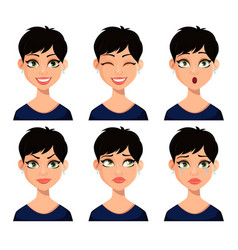set of facial expressions of beautiful woman vector image