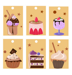 set of labels and flyers with cakes vector image