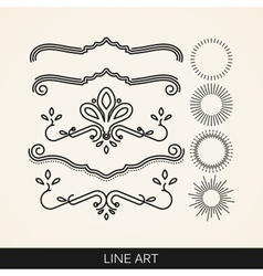 set of line art elements for design sunburst and vector image