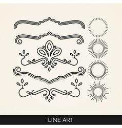 Set of line art elements for design sunburst and vector