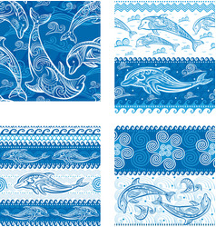 Set of seamless pattern with dolphins vector