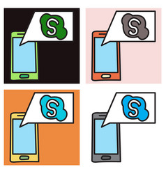Set of unusual look skype logo vector