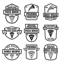 Set pizza house pizzeria emblems design vector