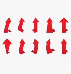 set red velvet popular arrow sticker isolated vector image