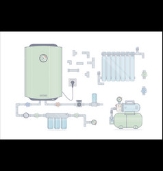 set water heater electric for the vector image