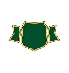 shield green icon gold outline shield simple vector image