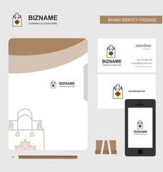 Shopping bag business logo file cover visiting vector