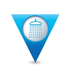 Shower icon map pointer blue vector