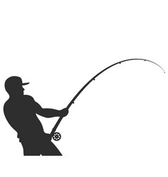 silhouette of a fisherman with a fishing rod vector image