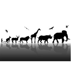 Silhouettes of wild animals with reflections vector